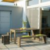 Design Gartenmöbel aus Holz: Gartentisch, Gartenbank und Gartenhocker TAVOLA in Akazie / Robinie
