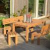Massiver Design-Gartentisch und Gartenbänke aus Holz / Eiche von WALLI – Ihr Gartentischler