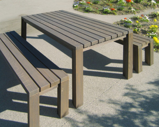 Gartentisch und Gartenbank NATURA in Holz – Eiche Steingrau geölt