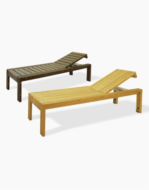 Gartenliege / Outdoor-Sonnenliege TAVOLA aus massivem Holz (Akazie / Robine)