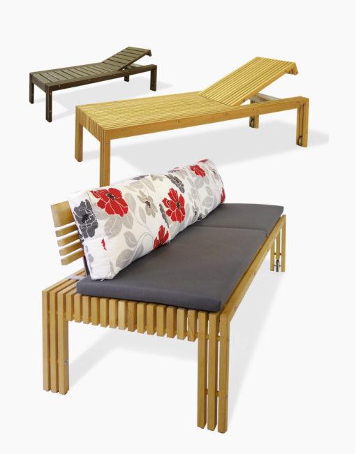 Gartensofa TAVOLA aus massivem Holz: Gartenliege und Outdoor-Sofa zugleich – mit einer steckbaren Rückenlehne