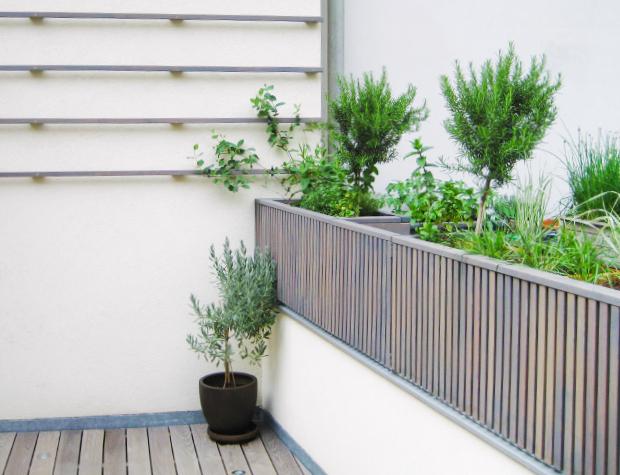 Moderne Holz-Pflanzbehälter als Sichtschutz, Rankleisten und Terrassenboden