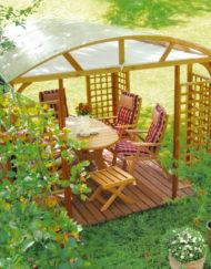 Garten-Pavillon mit Holzboden und Sitzgruppe Wartenstein aus heimischem Vollholz / Eiche