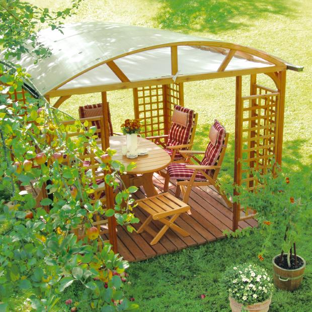Exklusiver Pavillon in Lärche mit Holzterrasse und Sitzgruppe Wartenstein