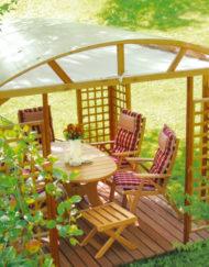 Schöner, massiver Holz-Pavillon für Garten und Terrasse mit Sitzgruppe Wartenstein