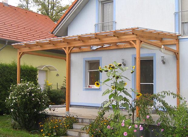 Terrassendach mit Glas aus Lärche massiv