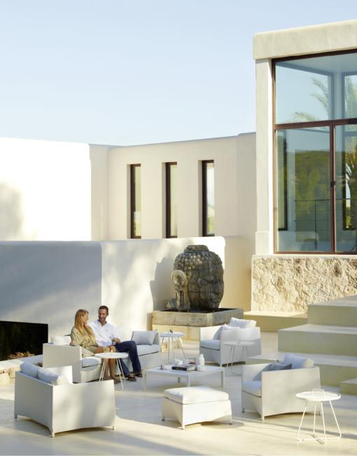 Design Outdoor-Sofagruppe aus Textilene in Weiß von Cane-line