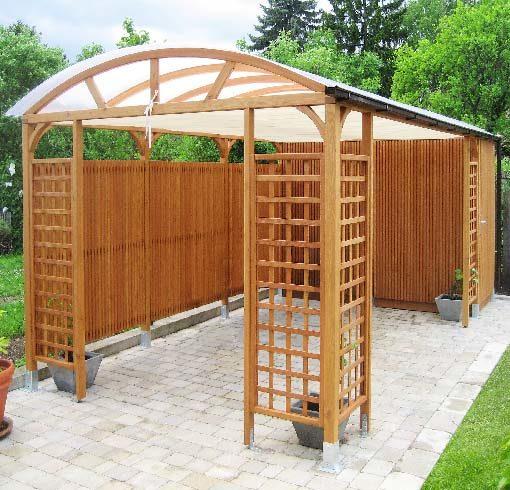 Gartenausstattung nach Maß: Garten-Pavillon mit Leistenwand / Holzlamellen als Sichtschutz und Gerätehaus in Lärche
