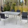 Gartentisch Manhattan aus Edelstahl mit Gartenstuhl Espanyol |WALLI Wohnraum Garten