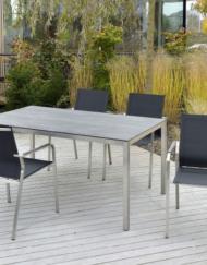 Gartentisch Manhattan aus Edelstahl mit Gartenstuhl Espanyol  WALLI Wohnraum Garten