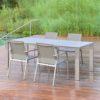 Design Sitzgruppe mit Gartenstuhl, Auszugtisch / Edelstahl Outdoor-Ausziehtisch von WALLI Gartenmöbel