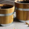 Hochwertige, ausgefeuerte Pflanztöpfe / Blumenkübel aus Holz