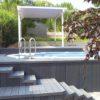 Klare Linien –modernes Terrassendach / Gartenpavillon / Gartenlaube aus Lärchenholz, weiß geölt