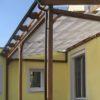 Terrassendach Lärche Braun geölt mit Regenrinne, Fallrohr, Beschattung, Glasdach