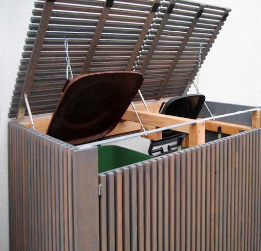 Mülltonnenverkleidung, Mülltonnenbox, Mülltonnenverbau in Holz – individuelle Lösung, Lärche patina geölt