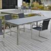 Design-Auszugtisch bzw. Ausziehtisch Ventura aus Edelstahl für Garten und Terrasse