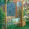 Schöne Gartenlaube / Pergola in Lärche massiv mit Rankgitter, Pflanztröge und klassischer Sitzbank aus Eiche von WALLI Wohnraum Garten aus NÖ / Wien Umgebung