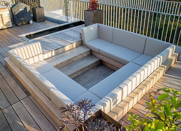 holz terrasse, exklusive holzterrasse mit lounge sofa | walli wohnraum garten, Design ideen