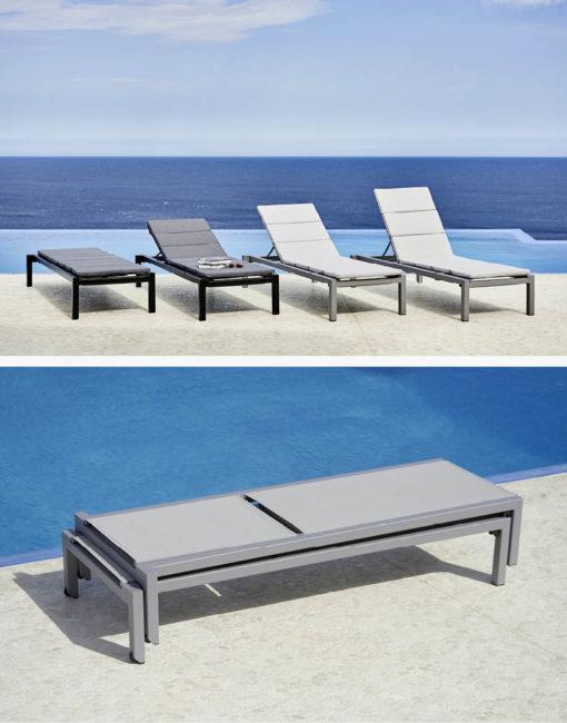 4-fach verstellbare Outdoor-Liege im minimalistischen Design, stapelbar