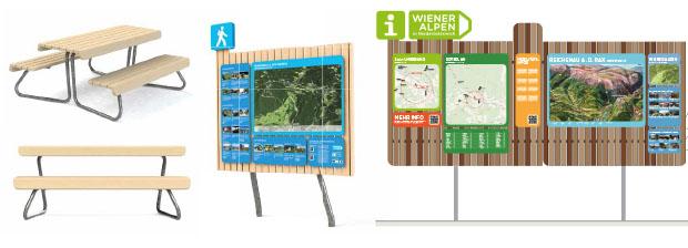 Wiener Alpen Outdoor Tisch-Bank und Leitsystem in Lärche –Entwurf Designstudio Walking Chair