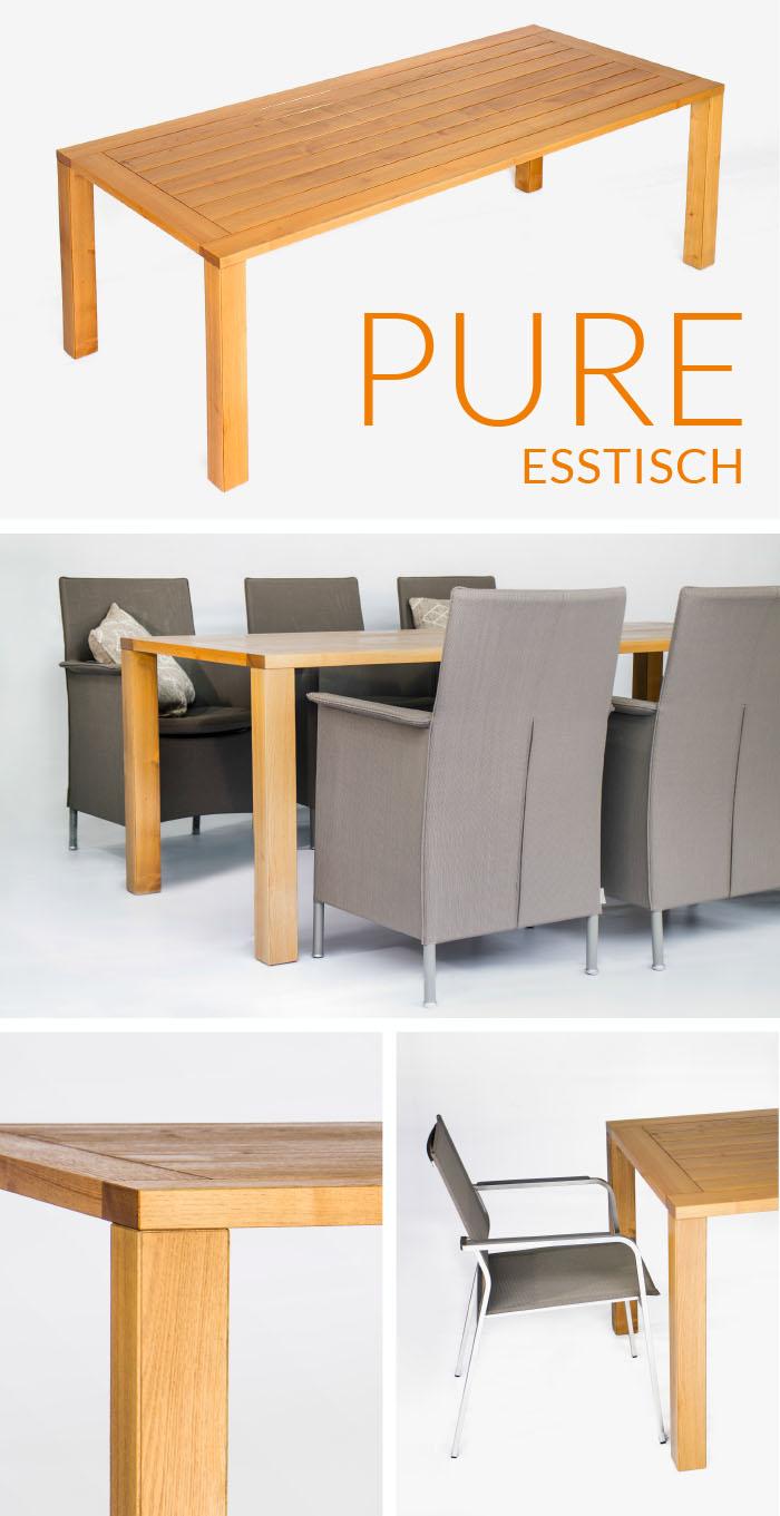 Massiver Gartentisch Pure aus Vollholz Eiche oder Robinie / Akazie von WALLI