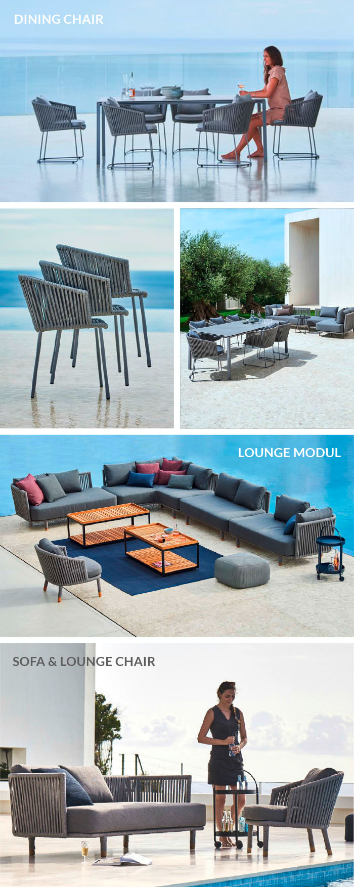 Lounge Gartenmöbel-Serie Moments von Cane-line: Sofa, Modul-Elemente, Dining Chairs, Lounge Sessel