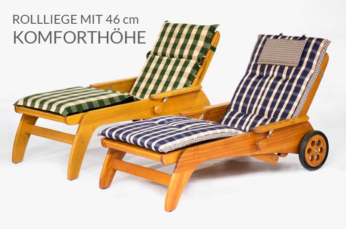 Komfortliege / Rollliege in massivem Holz: Eiche, Akazie / Robinie von WALLI Gartenmöbel
