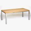 Gartentisch / Outdoor-Esstisch aus Edelstahl mit Tischplatte aus Holz in Eiche, Robinie / Akazie oder Lärche select –Ausführung nach Maß vom Gartentischler WALLI