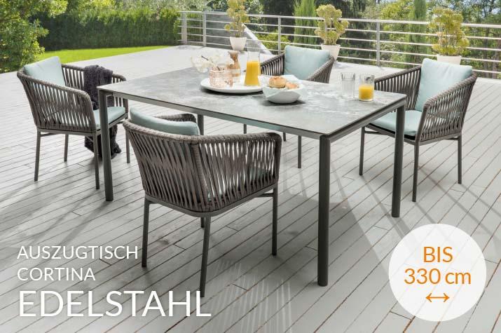 Auszugtisch Cortina aus Edelstahl –Auszug bis 330cm – jetzt bei WALLI Wohnraum Garten