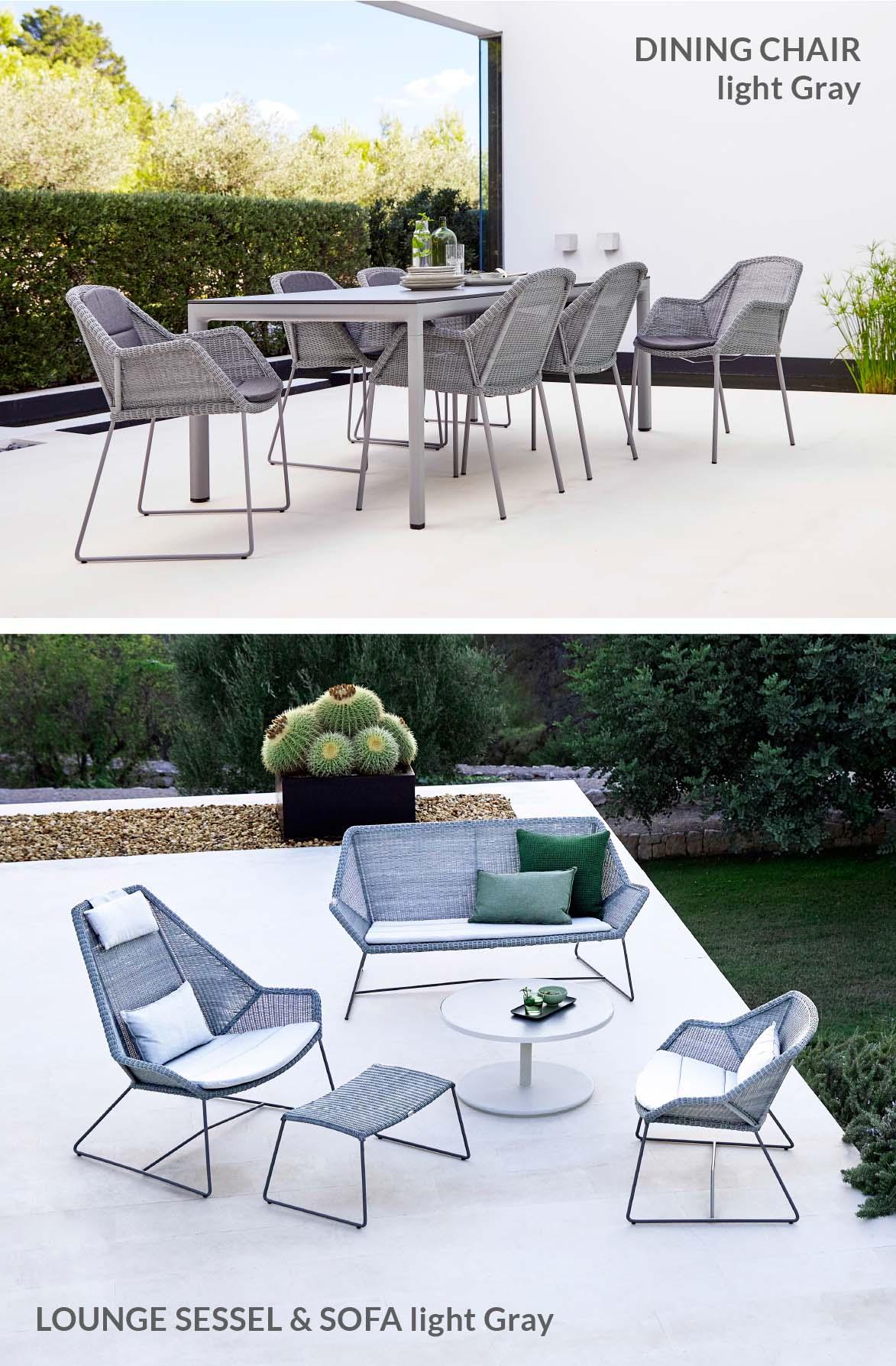 Breeze Dining Chair und Breeze Lounge Sessel in light grey von Cane-line