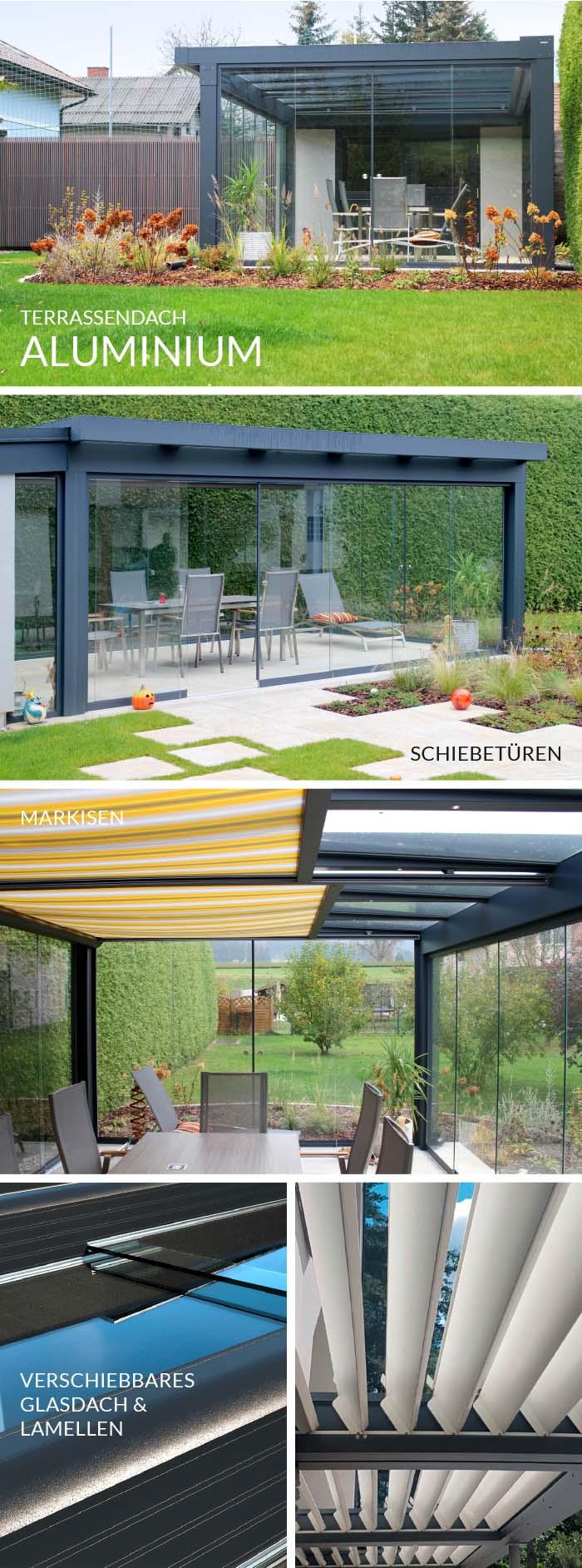 Terrassendach / moderner Wintergarten aus Aluminium mit Glasschiebewänden