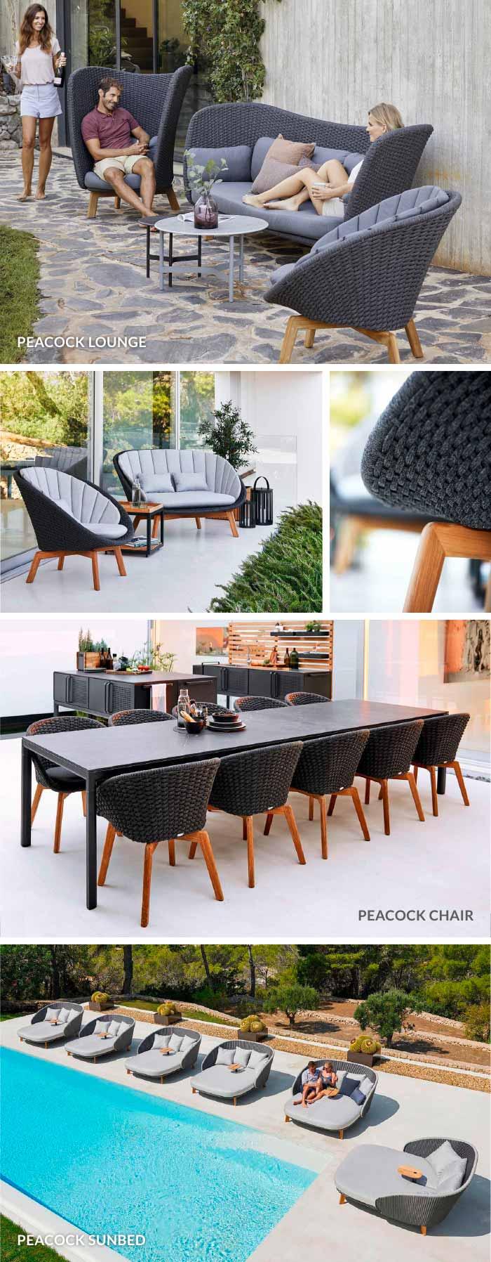 Peacock Lounge Sofa, Chair & Sunbed von Cane-line jetzt bei WALLI Gartenmöbel